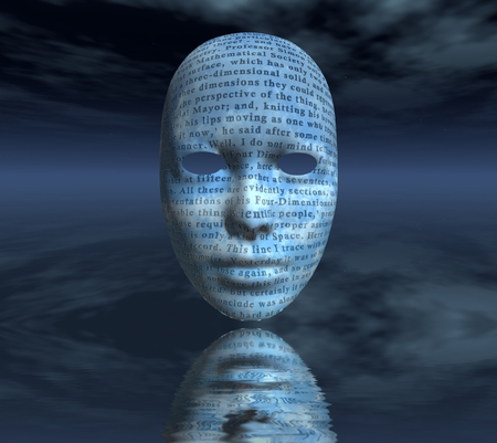 Surreal digital art. Womans mask with text reflects in water. 3D rendering. Reklamní fotografie
