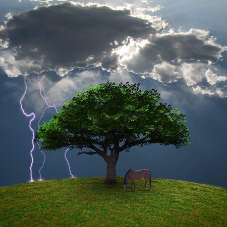 Horse near the tree. 3D rendering. Stock Photo