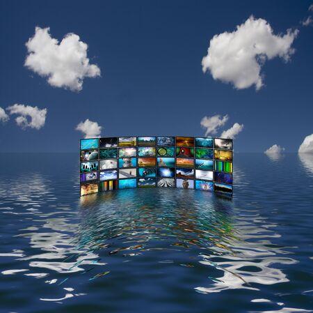 Multiple screens reflected in water. 3D rendering.