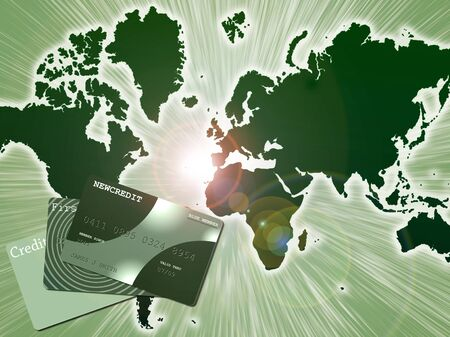 Green world. Credit card. 3D rendering. Banco de Imagens