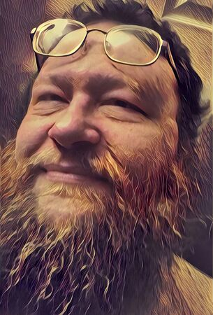 Emotions. Beard man with smile on his face.
