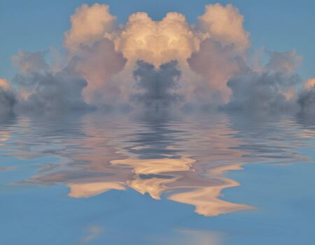 Surrealism. Clouds reflected in the water.