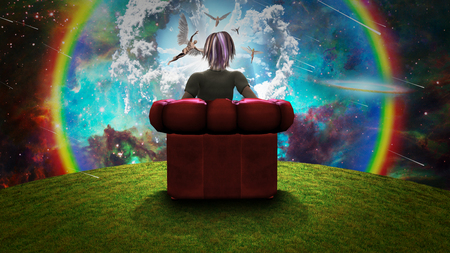Surreal composition. Woman sits in red armchair and observing Angels in vivid sky. 3D rendering. Фото со стока