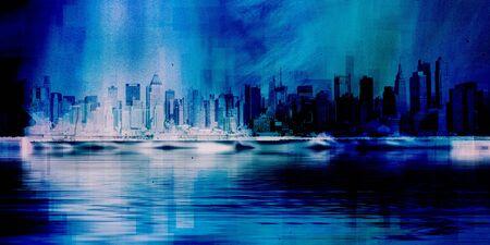 New York skyline 3D Rendering