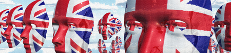 Surreal digital art. Womans masks in Great Britain national colors hovers in the sky. 3D rendering Stock Photo