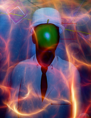 Man in white suit with face hidden by green apple. 3D rendering.