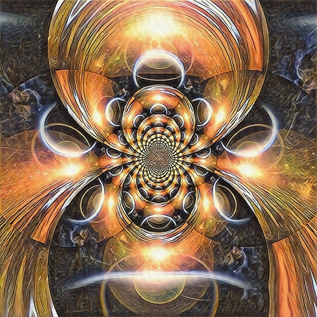 Abstract painting. Mirrored round fractal with a picture of eclipse. 3D rendering