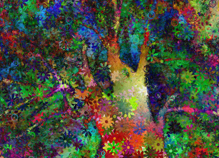 Colorful Abstract Tree. 3D rendering.