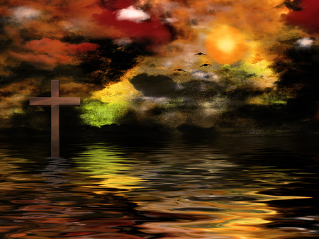 Surreal painting. Vivid sunset and cross on the water. Stock Photo