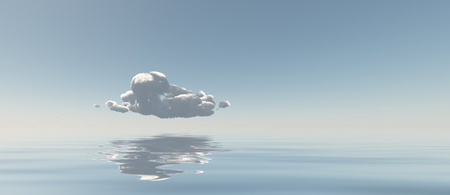 Surreal digital art. Lonely cloud above quiet water surface.