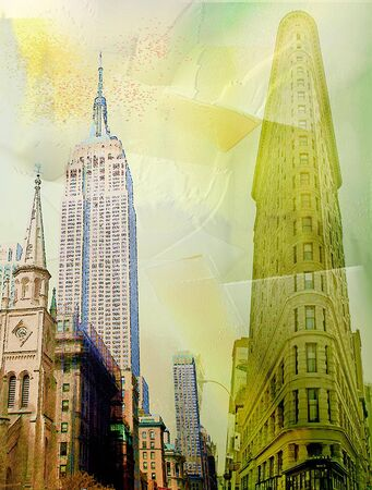 Manhattan Downtown. Abstract colors. 3D rendering Stock Photo