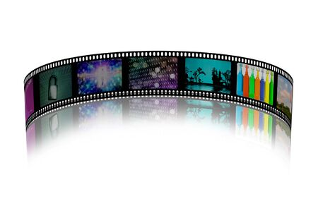 Film strip with colorful images. 3D rendering Stock Photo