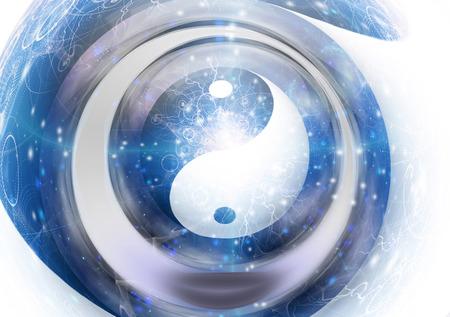 Symbole de Yin Yang dans le vortex. Banque d'images
