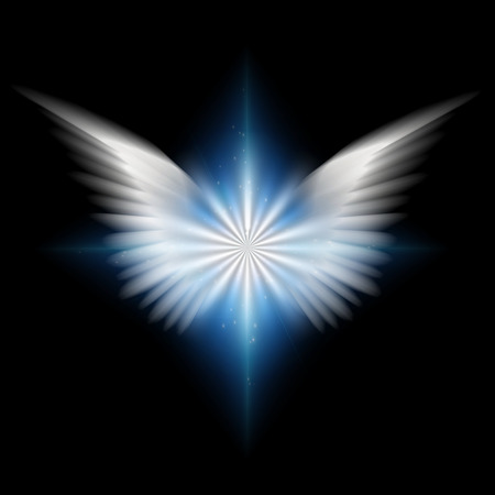 Surreal digital art. Bright star with white angel's wings. 3D rendering