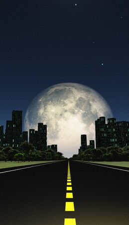 Surreal digital art. The highway leads to the city. Huge moon on the horizon.