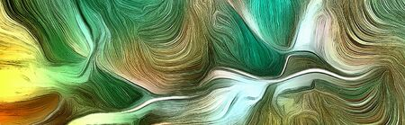 Fluid lines of color movement. Green is a main color. 3D rendering.