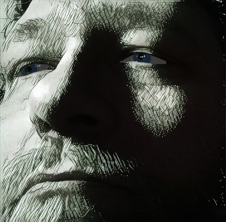 図。男の顔 写真素材