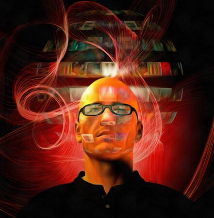 Futuristic digital painting. Bald man in glasses with hologram screens. Stock Photo