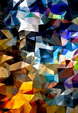 Multicolored polygonal pattern. 3D rendering