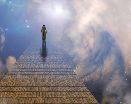 Surrealism. Man walks on stone road to the sky.