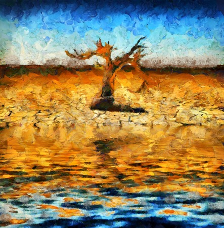 Surreal painting. Old dry tree on a desert shore.