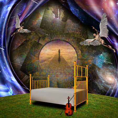 Surrealism and symbolism. Angels, bed and violin. Lonely man on a stone road. Some elements credit NASA. 3D rendering Foto de archivo