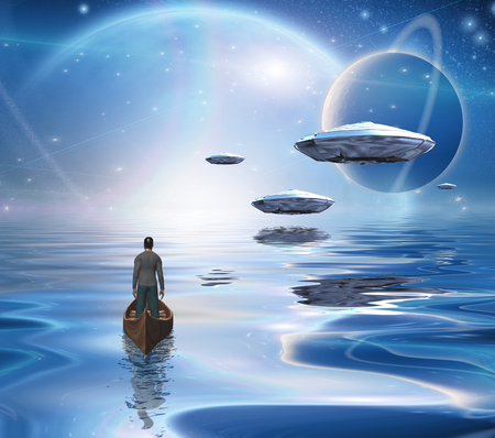 Exosolar Planets Rise over quiet waters. Man in boat. 3D rendering