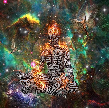 Surrealisme. Figuur van de man met doolhof patroon in lotus houding in vlammen. Naakte mannen met vleugels vertegenwoordigen engelen. 3D-weergave