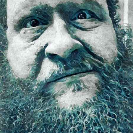 図。老人の顔 写真素材