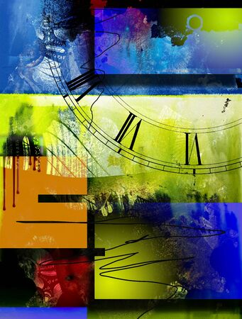 Colorful abstract composition. Time. 3D rendering