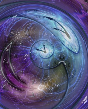 Espiral de tiempo encerrada en esfera de cristal. Representación 3D Foto de archivo