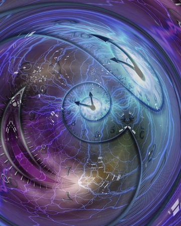 Zeitspirale in Kristallkugel eingeschlossen. 3D-Rendering Standard-Bild