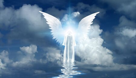 Figure in white cloak stands on water surface. Winged star in cloudy sky. 3D rendering Banque d'images