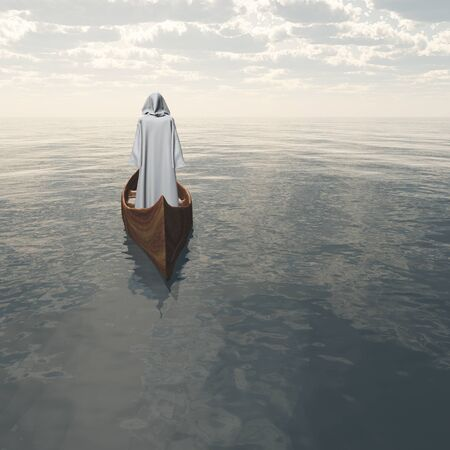 Surreal digital art. Figure in white cloak floats in wooden boat. Banco de Imagens - 92012902