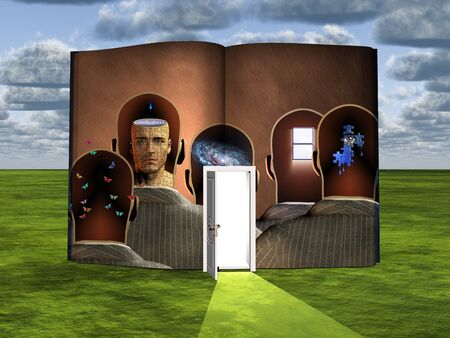 Surrealism. Book with opened door and thoughts in mens heads.