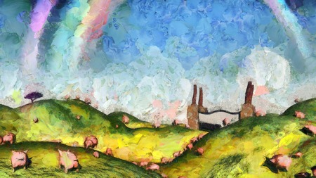 Surreal painting. Pigs in the field. Factory at the horizon. Rainbow in the sky.