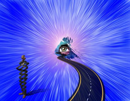 Road to Gods Eye. Surreal figure of businessman, helix shape. 3D rendering