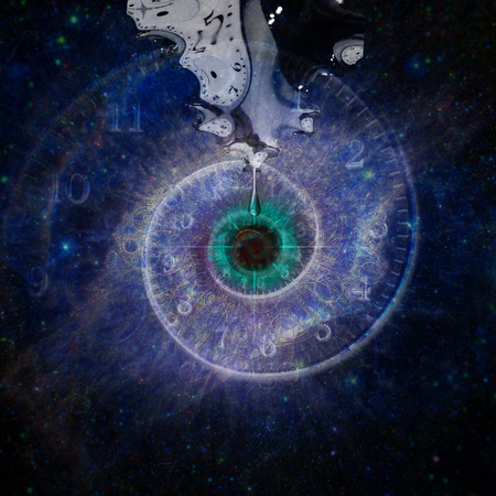 Black hole, galaxy in eye shape. Salvador Dali style.