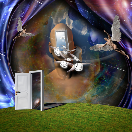 Surrealism. Man's head with opened door to another world. Naked man with wings represents angel. Winged clocks symbolizes flow of time. 3D rendering. Some elements provided courtesy of NASA Imagens