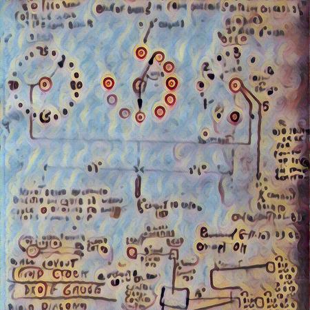 Modern art. Blueprint with time-circuits.