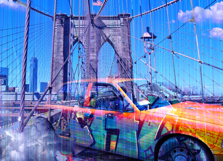 Surreal digital art. Yellow cab on the Brooklyn bridge. Graffiti elements. Foto de archivo
