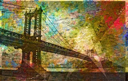 Manhattan Bridge Painterly Landscape Banque d'images