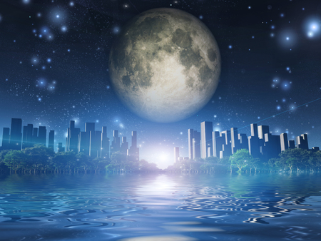 Surreal digital art. City surrounded by green trees in water world. Giant moon in the sky.