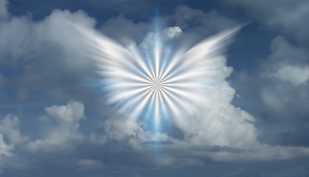 Winged star in cloudy sky. 3D rendering 免版税图像
