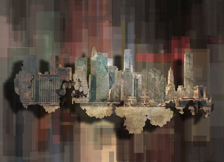 New York on abstract background. 3D rendering Stock Photo - 92280034