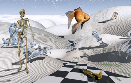 Surreal composition. Checkered road in white desert. Skeleton and golden fish. 3D rendering 스톡 콘텐츠