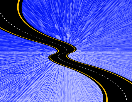 Abstract composition. Road in rays of light. 3D rendering Stock Photo