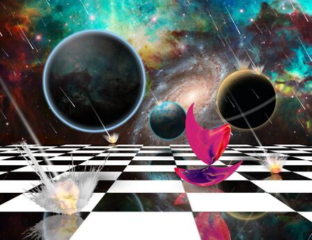 Planetary Armageddon. Massive meteorite - asteroid shower destroy planets. Mystic Pink Matter on chessboard. 3D rendering Stock Photo