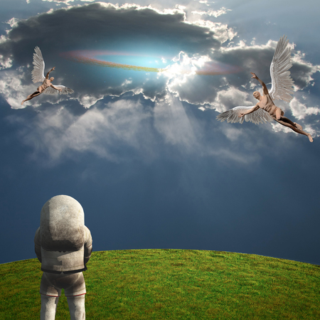Surrealism and symbolism. Angels and Astronaut. 3D rendering