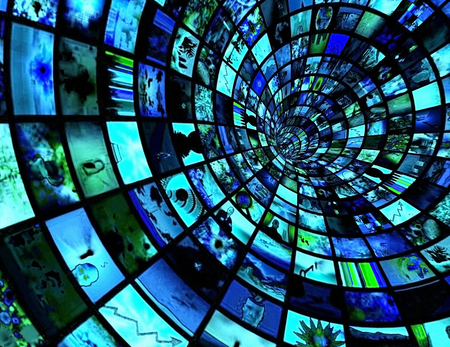 Broadcast Tunnel. Multimedia gallery. 3D rendering Stock Photo